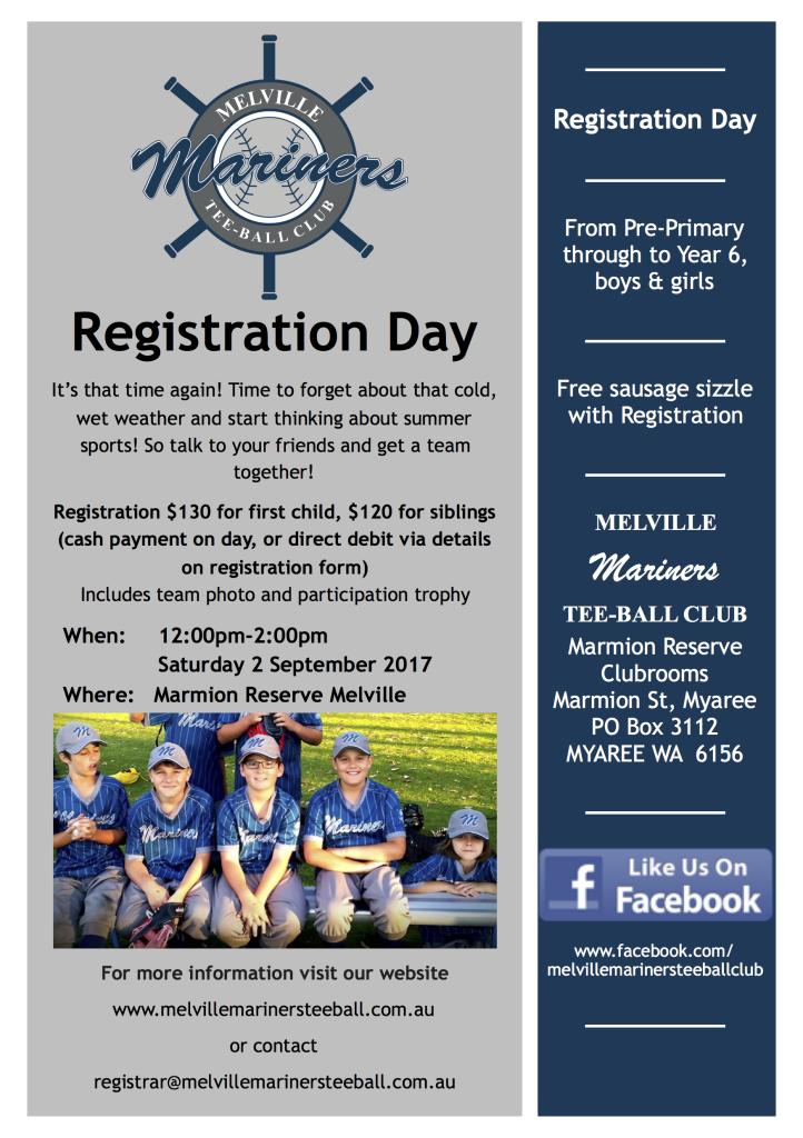 Melville Mariner Registration Day Flyer 2017 A5 copy